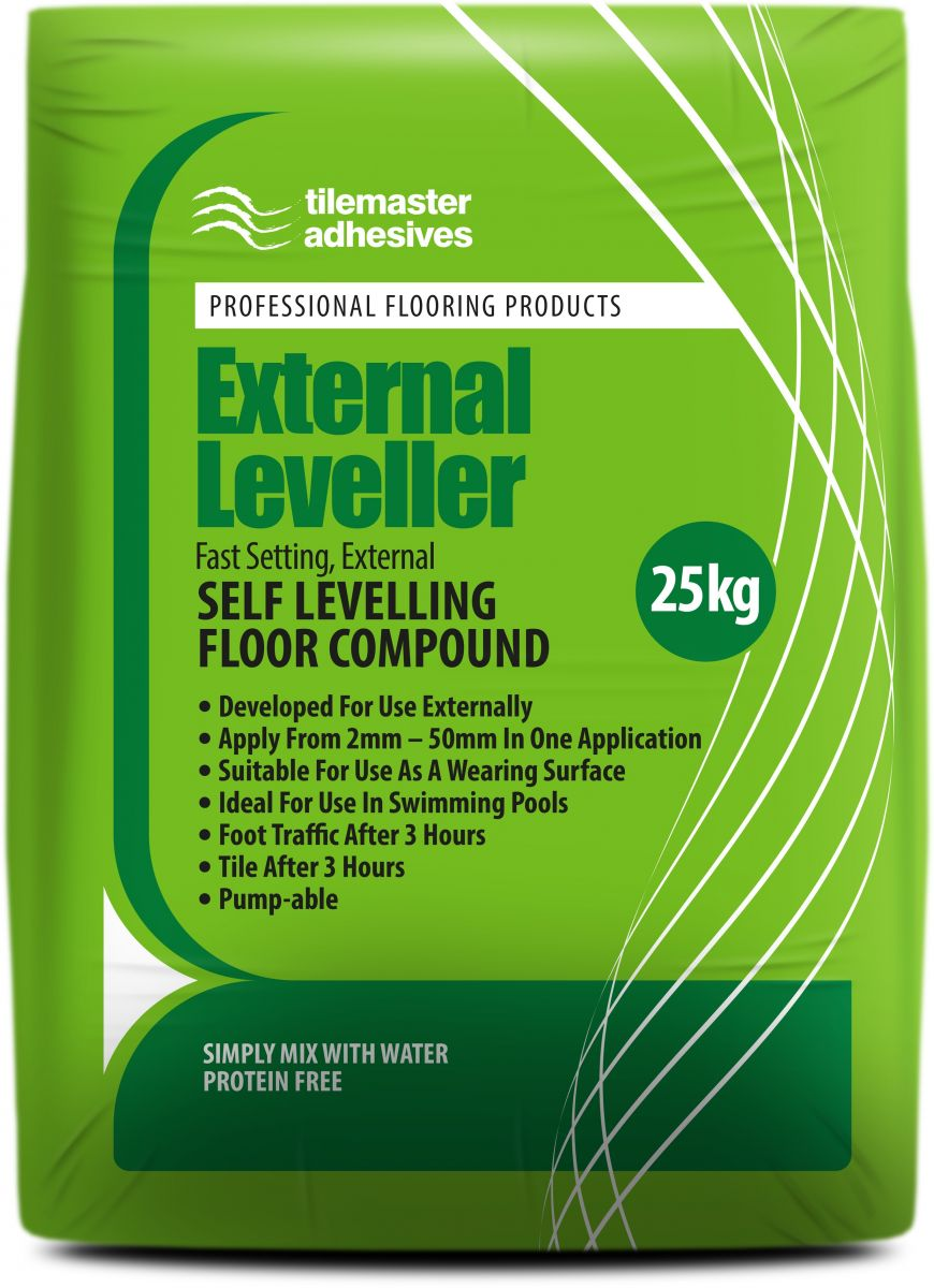 Outdoor surfaces covered with Tilemaster External Leveller