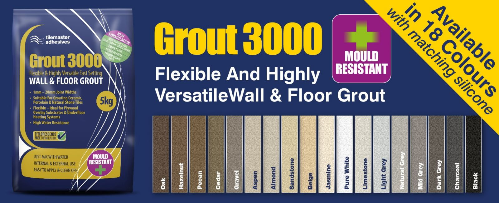 Tilemaster Adhesives' introduces new revamped Grout 3000 range