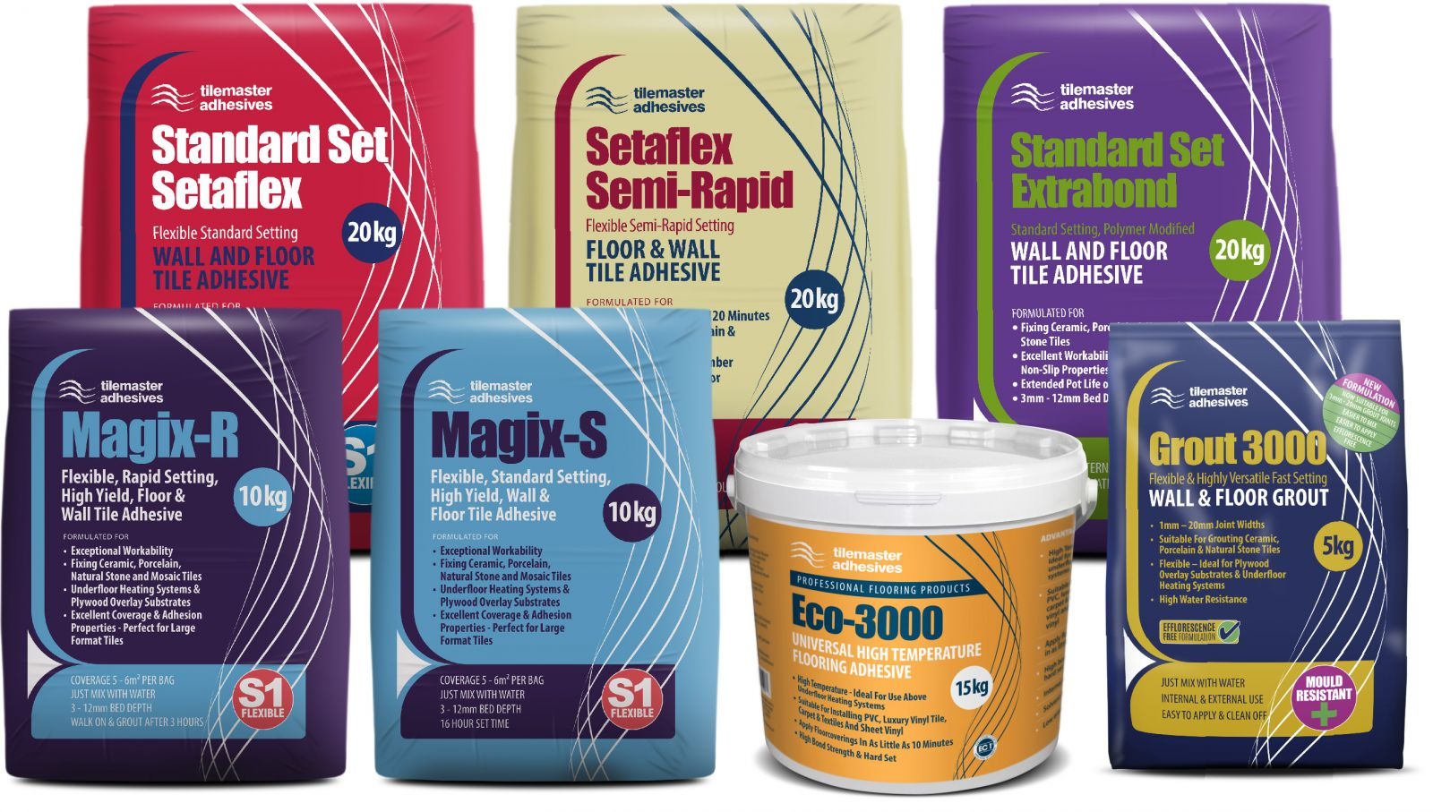 A full range of adhesives for tiles and resilient flooring from Tilemaster